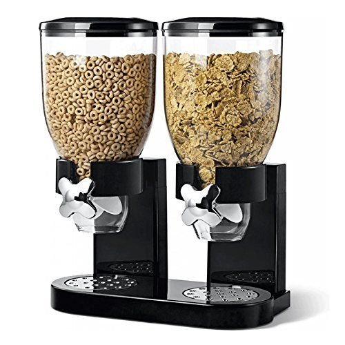 Kabalo Black Cereal Double Dispenser Machine Breakfast Food Storage Container Kitchen Snack Cannister