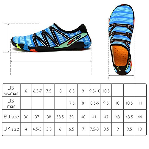 Summer Water QIMAOO Rubber Aqua Skin on Park Shoes Quick Men Garden Shoes Outdoor Anti Women Lake Run Sole with Dive Barefoot Beach Yoga Pool for Blue Exercise 1 Adult Dry Slip Gym Sport Socks Slip Surf Swim 5xHwY1Y