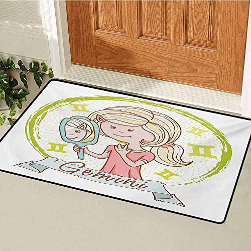Zodiac Gemini Front Door mat Carpet Cartoon Style Little Girl with a Mirror and Reflection Twins Concept for Kids Machine Washable Door mat W15.7 x L23.6 Inch Multicolor