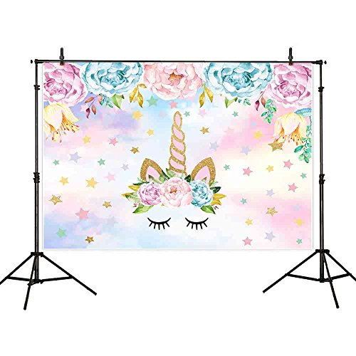 Allenjoy 7x5ft Vinyl Unicorn Theme Party Background Gold Flower Stars Sky Photography Backdrop For Children Newborn Birthday Dessert Table Decorations Banner Baby Shower Photo Studio Photobooth