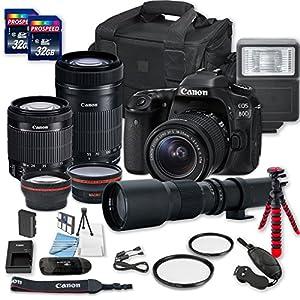 Canon EOS 80D DSLR Camera Bundle with Canon EF-S 18-55mm f/3.5-5.6 IS STM Lens + Canon EF-S 55-250mm f/4-5.6 IS STM Lens + 500mm f/8 Preset Lens + 2 PC 32 GB Memory Card + Camera Case
