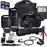Canon EOS 80D DSLR Camera Bundle with Canon EF-S 18-55mm f/3.5-5.6 is STM Lens + Canon EF-S 55-250mm f/4-5.6 is STM Lens + 500mm f/8 Preset Lens + 2 PC 32 GB Memory Card + Camera Case For Sale