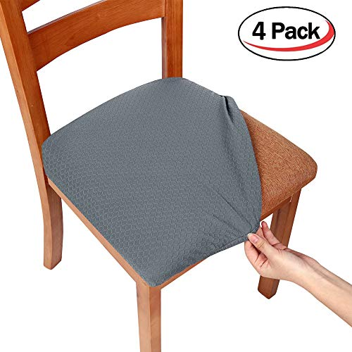 Smiry Stretch Spandex Jacquard Dining Room Chair Seat Covers, Removable Washable Anti-dust Dinning Chair Seat Cushion Protectors - Set of 4, Grey