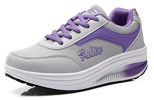 Ausom Femmes Plate-forme Cales Toning Chaussures Forme Ups Chaussures Marche Fitness Travailler Sneaker Violet