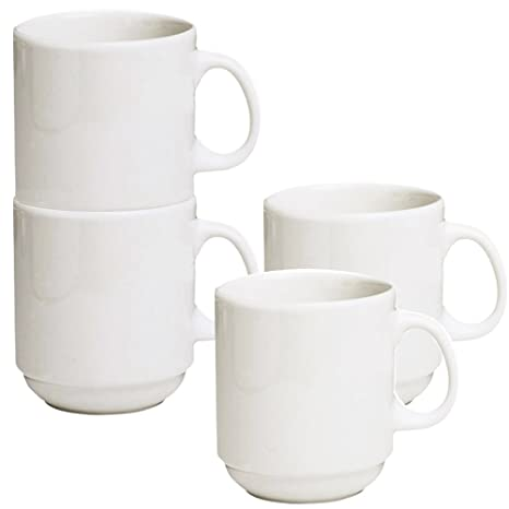 Amazon.com | Stackable Ceramic Diner Coffee and Tea Mugs with Pan ...