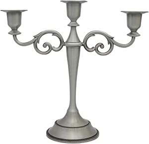 Viscacha 3-Candle Metal Candelabra Candlesticks Holder for Formal Events, Wedding, Church, Holiday Décor, Halloween – Taper Candle Holder Stand Centerpiece Elegant Decoration Piece for Table,Pewter