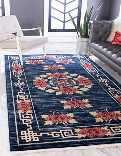 Unique Loom Gansu Collection Antique Finish Floral Chinese Pattern Navy Blue Area Rug (8' 0 x 10' - Finish Floral