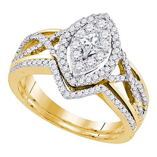 14kt Yellow Gold Womens Princess Diamond Oval Bridal Wedding Engagement Ring Band Set 7/8 Cttw from Diamond2Deal