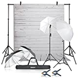 Photo : Emart Photography Umbrellas Continuous Lighting Kit, 400W 5500K, 10ft Backdrop Support System with Vinyl Plastic White Wood Floor Background Screen for Photo Video Studio Shooting