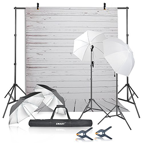 Emart Photography Umbrellas Continuous Lighting Kit, 400W 5500K, 10ft Backdrop Support System with Vinyl Plastic White Wood Floor Background Screen for Photo Video Studio Shooting from EMART