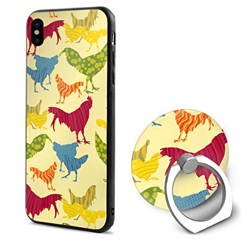Fancy Roosters TPU Case Ring Bracket Compatible iPhone X Cover 5.8 Inch