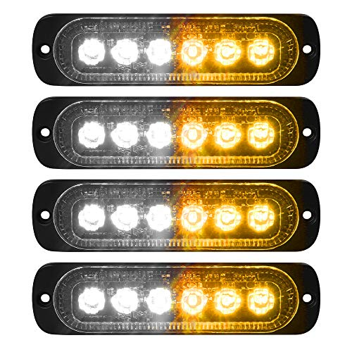 - VKGAT 4pcs Sync Feature 6LED Car Truck Emergency Beacon Warning Hazard Flash Strobe Light Surface Mount (Amber/White)