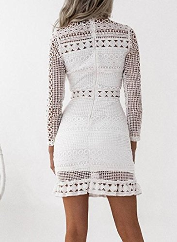 Pure Women Club Dress Color Bodycon Lace Coolred Blazer Sexy White Hollow Splice pfOcwYqd