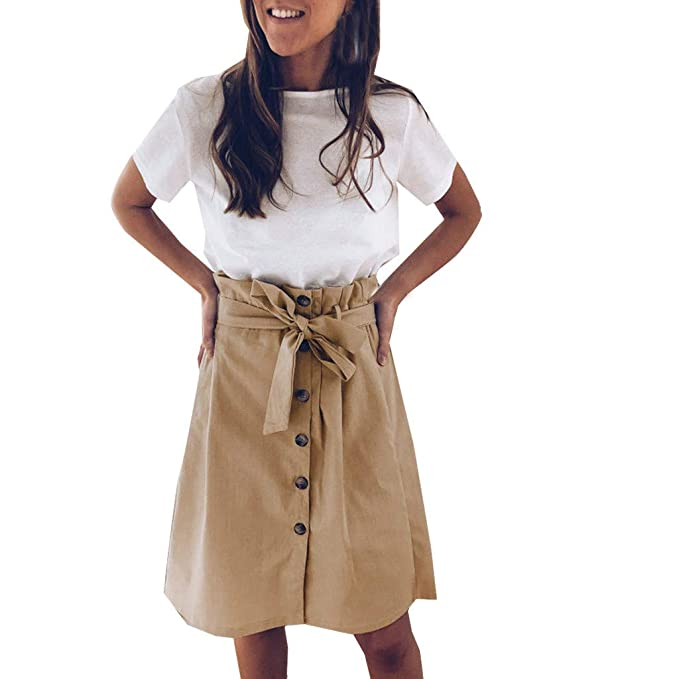 Proumy Falda Corta Plisada Verano Vestido Caqui Mujer Mini Faldas ...