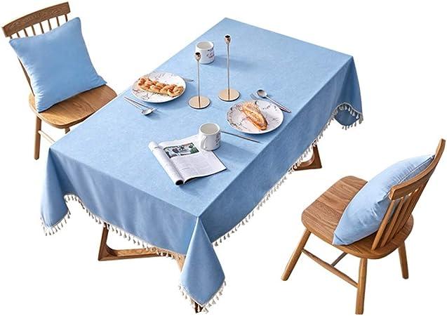 YIN YIN Moda Mantel - Rectangular Algodón Lino Mantel Hogar Color sólido Borla Mesa Larga Mesa de café Tela Hotel Conferencia Jardín Fiesta Mantel Durable (Size : 130x130cm): Amazon.es: Hogar