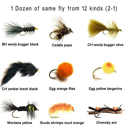 - Aventik 12 Pieces Top Rating scuds shrimps, eggs-worms, streamers, mixed flies Trout Fly Fishing Flies Fly super sturdy mixed Flies realistic look (#8, Streamers wooly bugger brown)