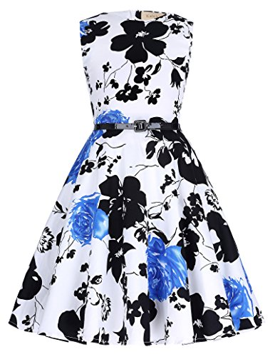 Kid's Round Neck Floral Vintage Super Cute Wedding Dresses 8-9Yrs K250-10, White/Black/Blue -
