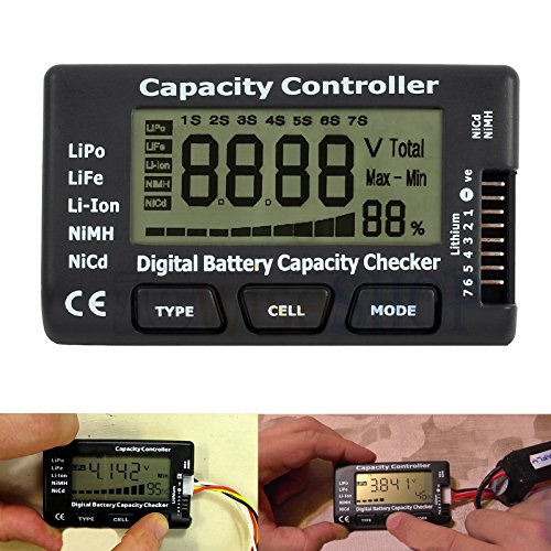Nicad Battery Tester - CAMWAY Digital Battery Capacity Tester Checker Controller LCD for LiPo LiFe Li-ion NiMH Nicd