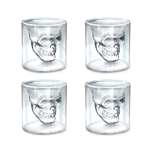 Crystal Skull Glass Shot - Skull Shot Glass,Set of 4 2.5oz (75ml) Crystal Glasses,Double Layer Transparent Skull Pirate Shotglasses Drink Cocktail Beer Cup,Wine Cup,Drinking Ware Mugs,Thick Base Creative Halloween Mug
