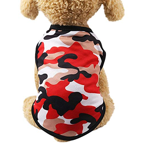 succeedtop for Small Dog Girl Dog Boy Soft Summer Woodland Camouflage Cotton Vest Dog Clothes Pet Clothing (M, red)