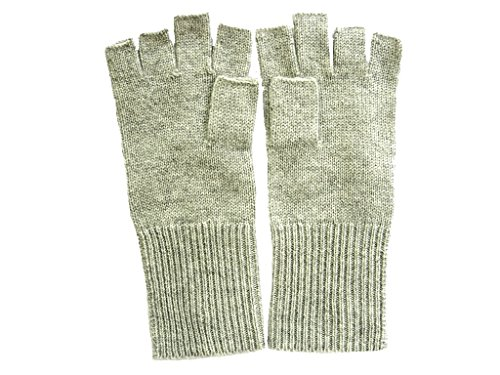 Gray 100% Cashmere - Heather Gray Pure 100% Cashmere Fingerless Half Finger Gloves