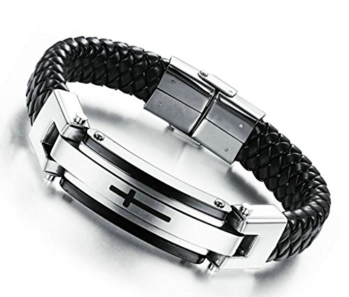 80s Costumes For Adults Diy (Epinki Mens Stainless Steel Cross Braide Leather Bangle Bracelet Black Bracelet)