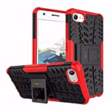 Heartly Lenovo Zuk Z2 / Lenovo Z2 Plus Back Cover Kick Stand Rugged Shockproof Tough Hybrid Armor Dual Layer Bumper Case - Hot Red