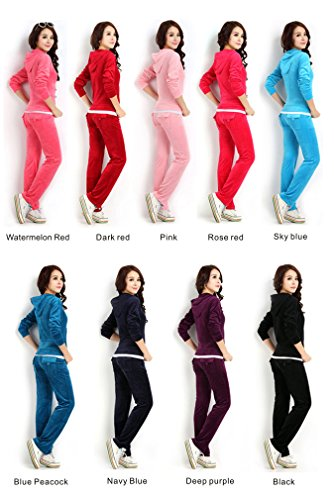 Pink Velour Tracksuit - Fekey&JF Women's Velour Sport Suit Set Pink 3XL