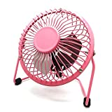 Mini USB Fan, soled Desk Personal Fan, 4 inch Mini USB Powered Cooling Fan for Office and Home Use Pink