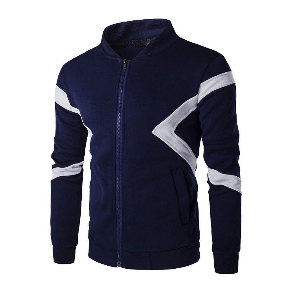Men's Long Sleeve Zipper Pathwork Crewneck Sweatshirt Top Tee Windproof Outwear Blouse Overcoat (Navy, M)