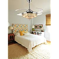 Siljoy 42 Chrome Retractable Ceiling Fans with Lights and Remote Invisible Crystal Chandelier Fan Dimmable