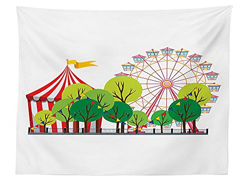 vipsung Circus Decor Tablecloth Circus Carnival Scene with Ferris Wheel and Tree Images Cool Fun Park Artistic Show Dining Room Kitchen Rectangular Table - Pear Park Florida