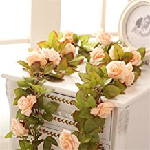 Felice Arts 2 Pack 11 Heads 7.2 Ft/pc Artificial Silk Fake Flowers Autumn Rose Vine Realistic Hanging Silk Rose Plants Wedding Home Party Arch Decor