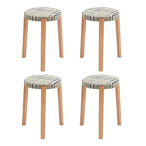 Fabulous Amazon Com Rpmdm Stool 4 Pieces Solid Wood Fabric Stool Ibusinesslaw Wood Chair Design Ideas Ibusinesslaworg