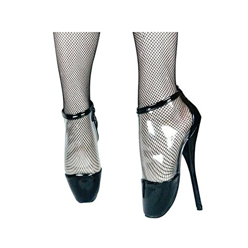 Damen Stiefel Stiletto High Heels Boots Schuhe Ankle Sexy Extrem Hohe Plateau Reiterstiefel Lack Stiefel elegant elastischer Leder-Optik Schnallen Schuhe, Cosy-L Black