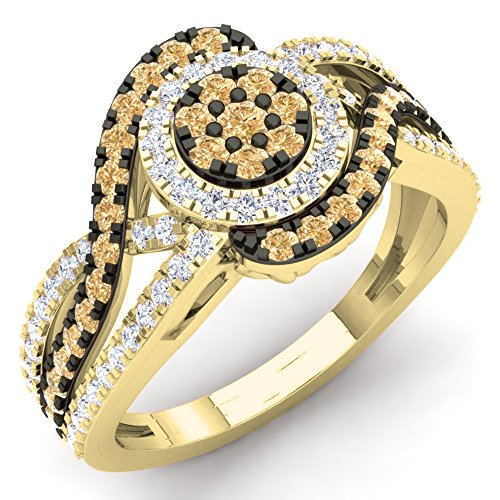 Dazzlingrock Collection 1.00 Carat (Ctw) 14K Champagne & White Diamond Swirl Cluster Engagement Ring 1 CT, Yellow Gold, Size 5