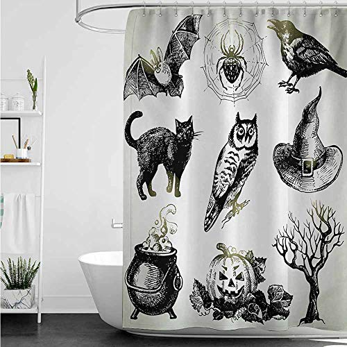 home1love Waterproof Bathtub Curtain,Vintage Halloween Halloween Related Pictures Drawn by Hand Raven Owl Spider Black Cat,Shower Curtain with Hooks,W72x72L,Black White -