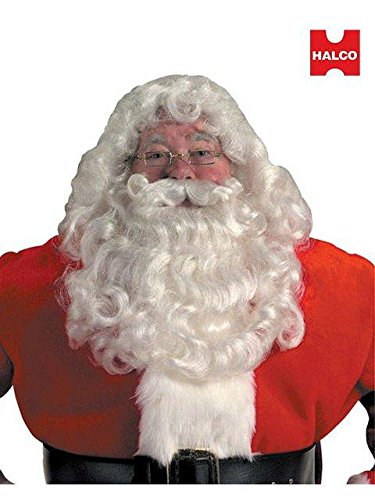Santa Beard And Wig Set (Professional Santa Wig and Beard Set Costume Accessory)