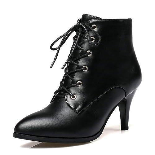 Las Mujeres señalaron los Botines del Dedo del pie Cordones Zapatos de Cuero Finos Tacones Altos Bombas de Invierno Fiesta Tacones Altos: Amazon.es: Zapatos ...