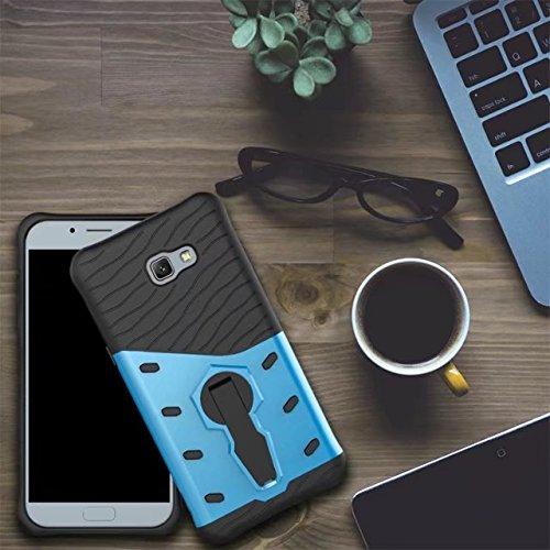 GR Para Samsung Galaxy A7 2017 A720 híbrido resistente resistente blindaje de armadura de doble capa a prueba de golpes a prueba de golpes con la cubierta del caso Kickstand de ajuste ( Color : Blue ) Blue