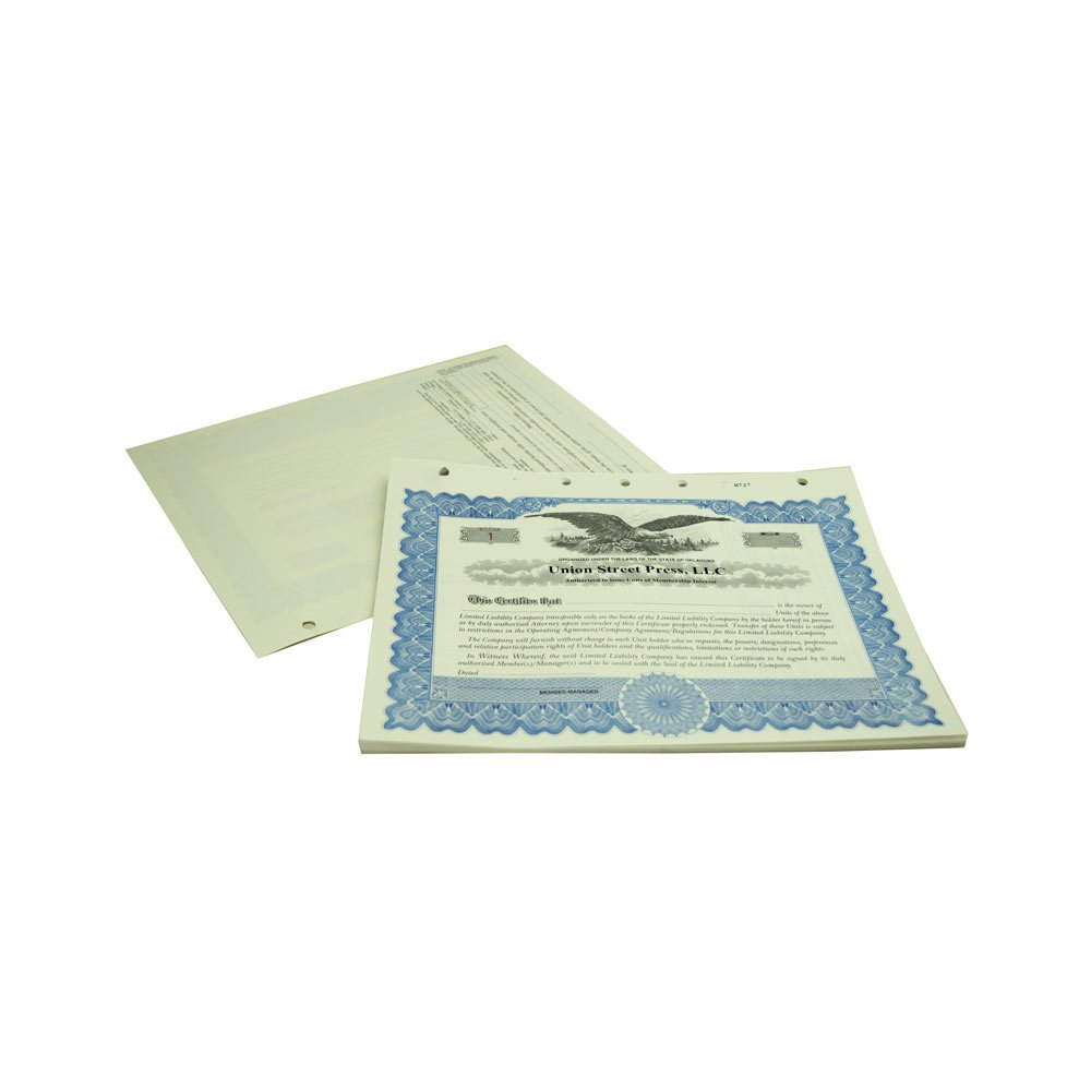 Blumberg Imprinted and Numbered Business Corporation and LLC Certificates (for LLC Units of Membership Interest, Blue Loose)