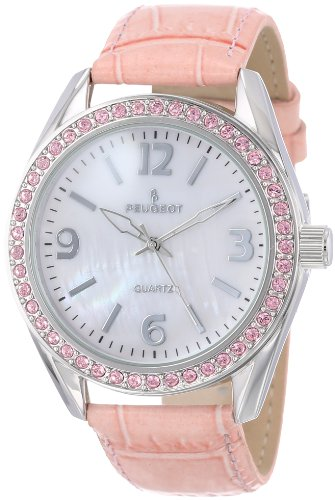 Peugeot Womens  Silver-Tone Swarovski Crystal Accented Mother of Pearl Pink Leather Strap Watch 3006PK