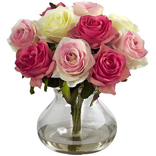 Nearly Natural 1367-AP Rose Arrangement with Vase, Assorted Pastels ()