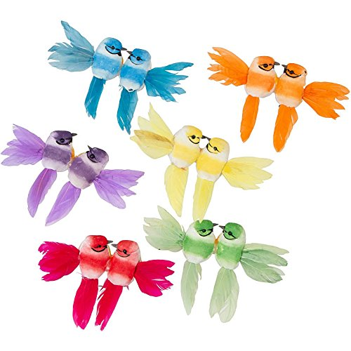 (Factory Direct Craft Multicolored Feathered Mushroom Lovebirds | 6 Lovebirds | with Attached Alligator Clips (Multicolored))