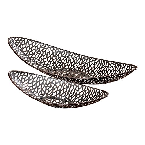 WHW Whole House Worlds Key West Banana Boat Decorative Bowls, Set of 2, Artisinal Design, Made by Hand, Open Metal Work, Rustic Bronze, Iron, 20 1/2 and 14 1/4 Inches Long