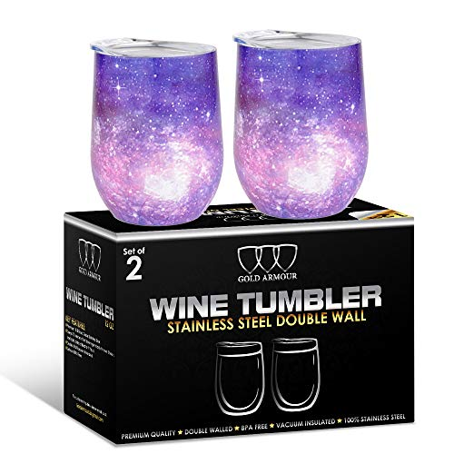 (2Pack Stainless Steel Stemless Wine Glass Tumbler with Lid, 12 oz | Double Wall Vacuum Insulated Travel Tumbler Cup - Sweat Free, Unbreakable, BPA Free (Purple)