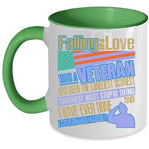 Veteran Coffee Mug, Falling In Love With A Veteran Accent Mug (Accent Mug - Green)