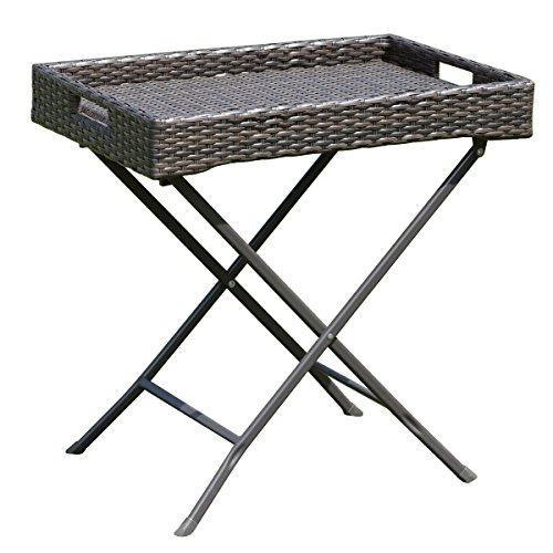 Cheap TANGKULA Wicker Table Outdoor Patio Wicker Rattan Sofa Side Tray Table Display Stand