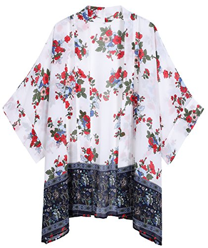 OLRAIN Women's Floral Print Sheer Chiffon Loose Kimono Cardigan Capes (X-Large, White-4)
