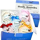 Essential Oil Bath Bombs Set of Five Lush USA Made Super Large 5 Oz All Natural Bubble Bath Fizzies w/ Mango Shea & Cocoa Butter For Home Spa Relaxation & Wellness